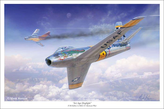 """Jet Age Dogfight"" by Mark Karvon F-86 Sabre vs MiG 15 Korean War www.markkarvon.com"