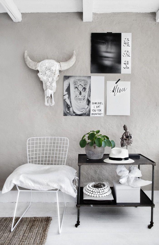 Grey Wall Home Interior Buffalo Skull Grey Wall Decor