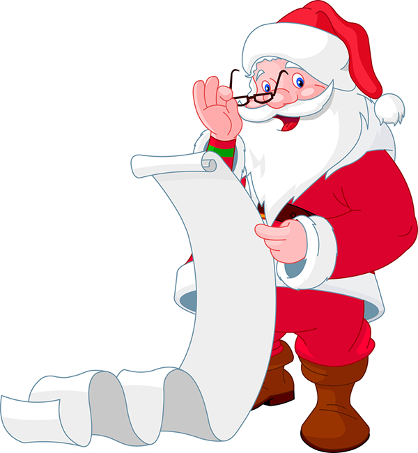 Santa Checking His List Xmas Clip Art Christmas Clipart Christmas Cartoons