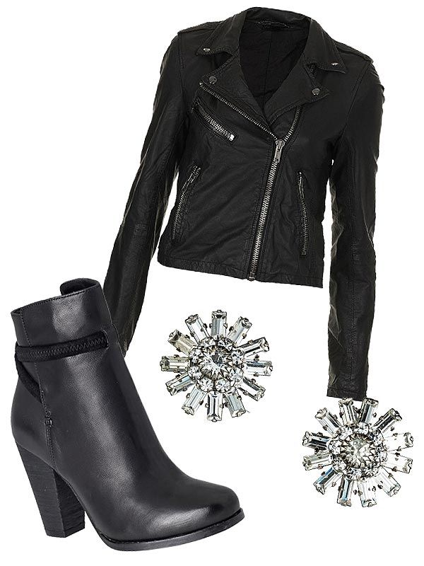 Topshop jackets, joie boots and dannijo earrings