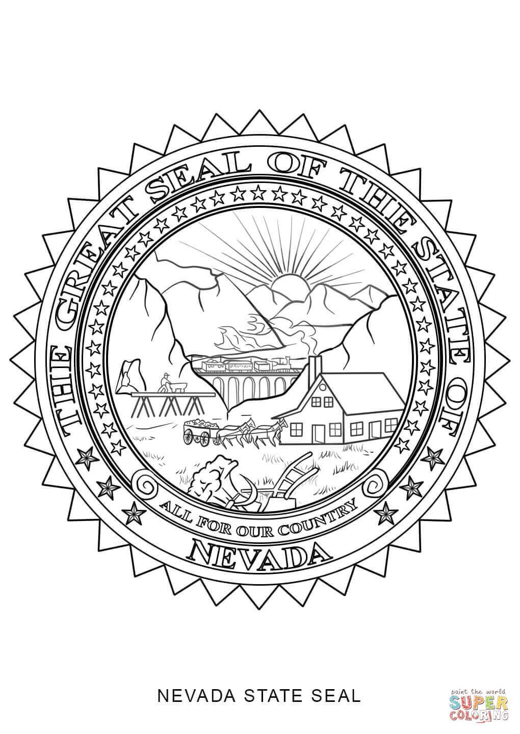 Nevada State Seal Coloring Page School Project Ideas Flag