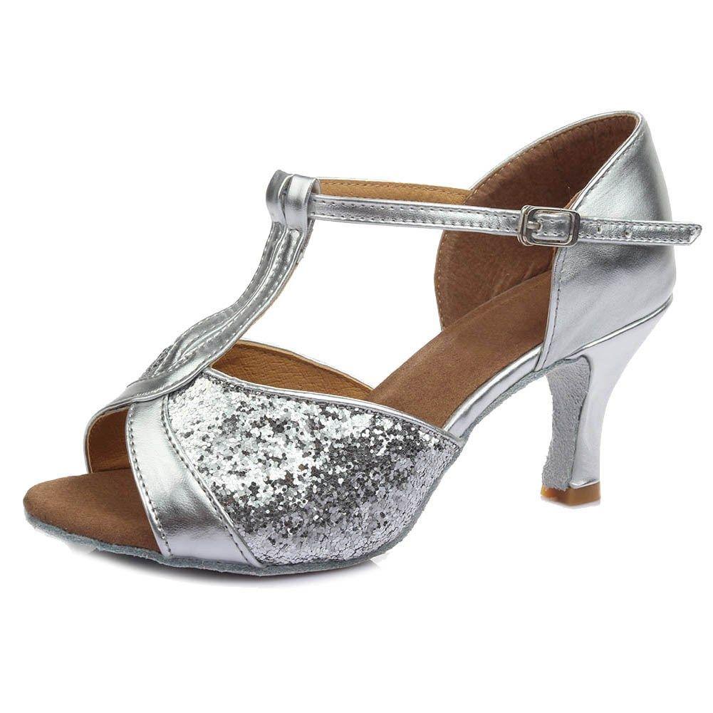 Women Waltz Latin Tango Heeled Salsa Sandals Ballroom Prom Party Dancing Shoes