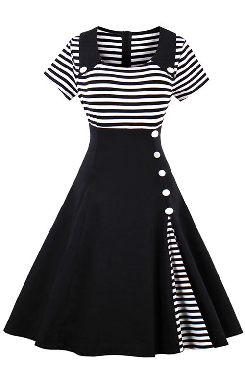 Vintage Striped Buttoned Pin Up Dress | Semi formal dresses ...