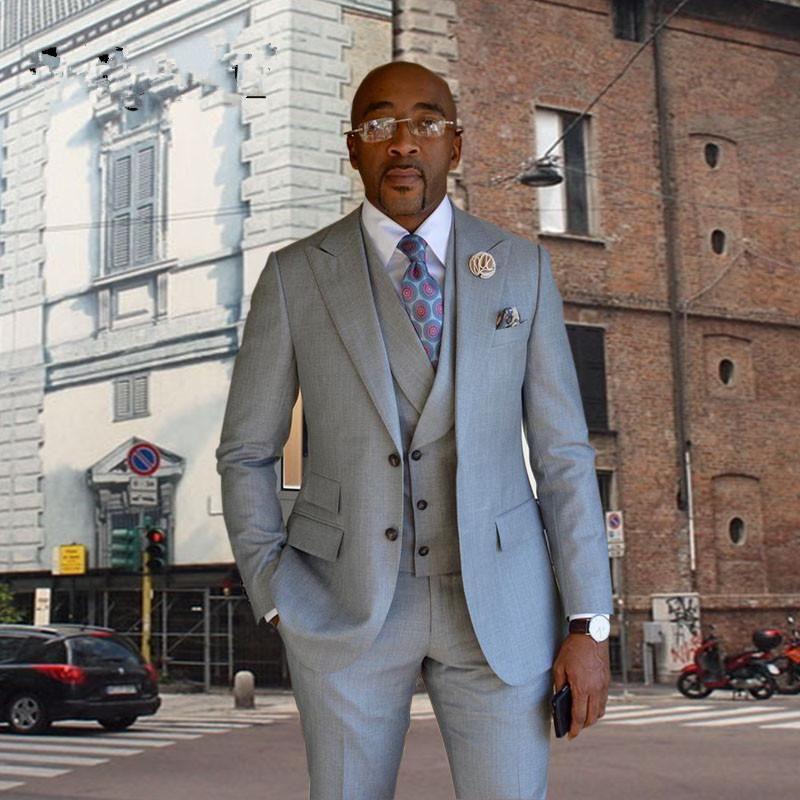 2017 Latest Coat Pant Design Light Grey Men Suit Jacket Prom Tuxedo ...