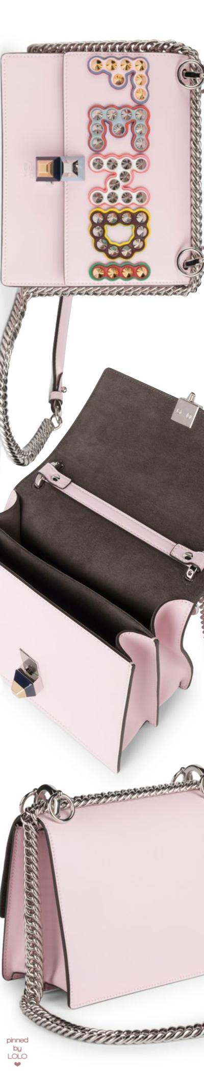 Fendi Mini Kan I Studded Leather Crossbody Bag