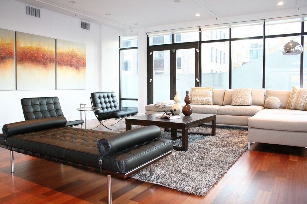 Barcelona Chair And Beige Sectional Sofa Usual House Bed In Living Room Daybed In Living Room Brown Living Room Decor