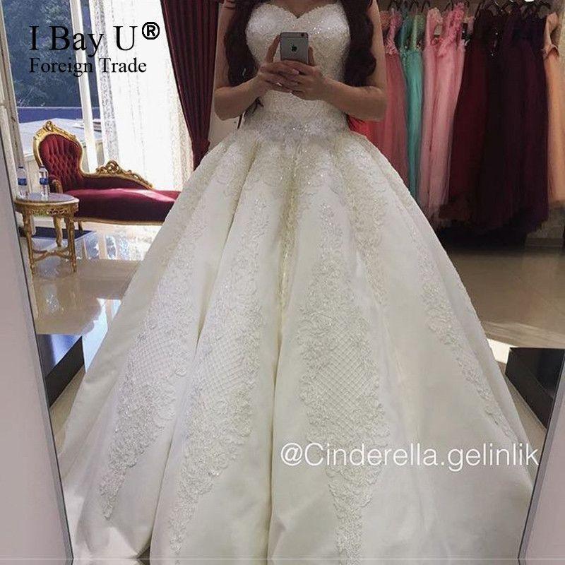 Luxury Puffy Ball Gown Princess Wedding Dress Long Train 80cm Dresses Vestido De Noiva Princesa