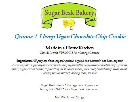 Quinoa + Hemp Chocolate Chip Cookies Product Label
