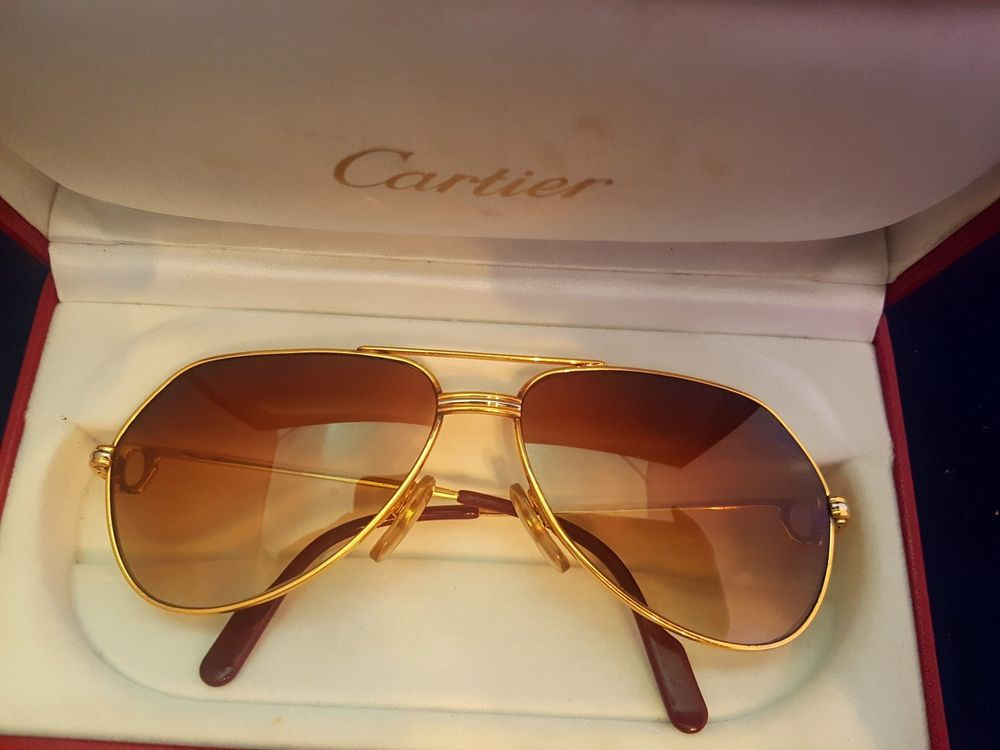 8a9d2d509a OCCHIALI CARTIER VENDOME LOUIS BROWN LENS VINTAGE SUNGLASSES FRANCE 18K  GOLD  Cartier  Vintage