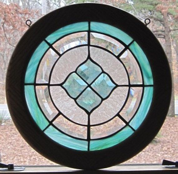 window decoration handmade Wooden circle with lead crystal