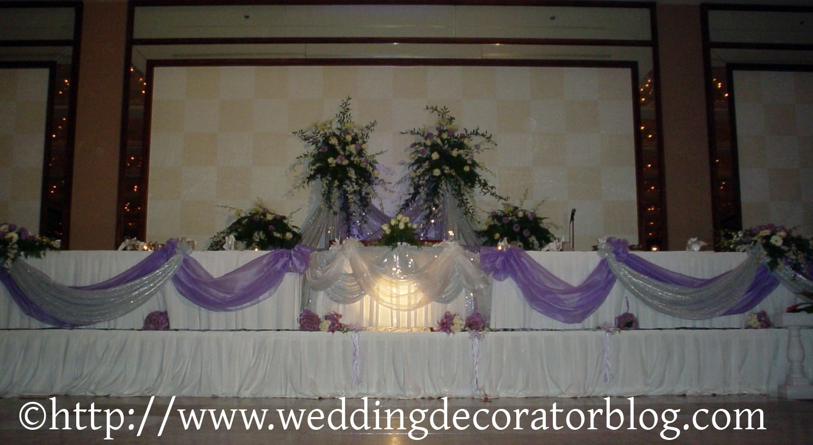ideas for head tables. draping colored fabric over a colored table ...