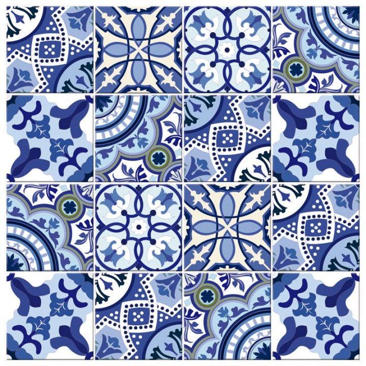 Adesivo para azulejo portugu s tons de azul for Azulejo 15x15