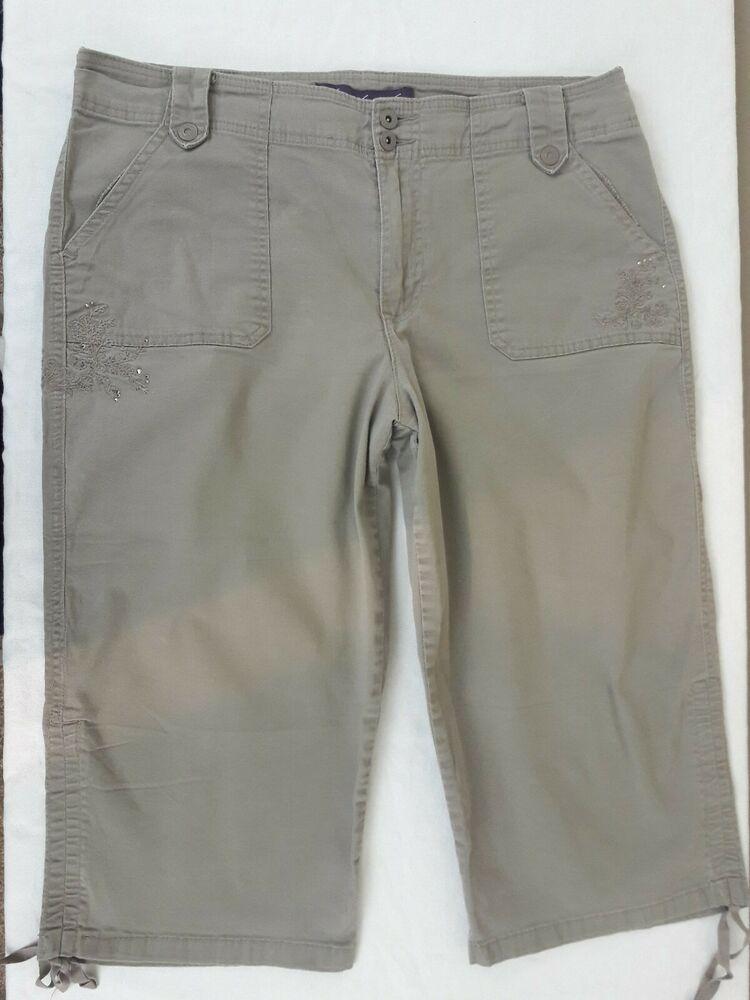 b85645a899 Gloria Vanderbilt Women's Jeans Size 14 Chino Khaki Beige Capri With  Embroidery #GloriaVanderbilt