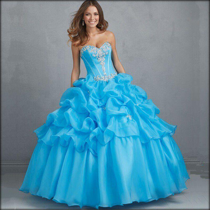 597df296e imagenes de vestidos de xv años color azul turquesa