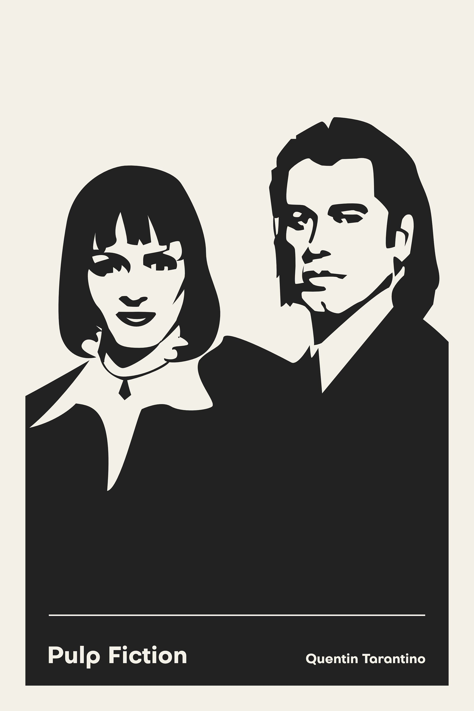 Pulp fiction movie poster quentin tarantino poster 24x36 film poster black and white