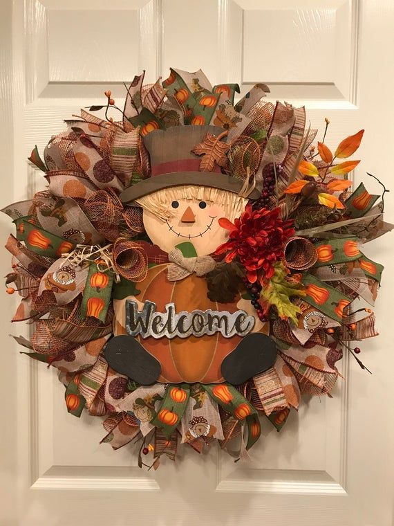 Fall Wreath, Pumpkin Wreath,  Scarecrow Wreath, Fall Wreath for front door, Thanksgiving Wreath for #scarecrowwreath Fall Wreath, Pumpkin Wreath,  Scarecrow Wreath, Fall Wreath for front door, Thanksgiving Wreath for #scarecrowwreath