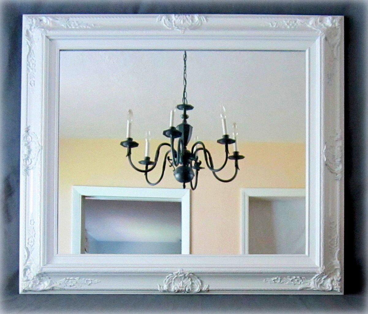 WHITE FRAMED MIRROR For Sale Regency Decor Unique Vanity
