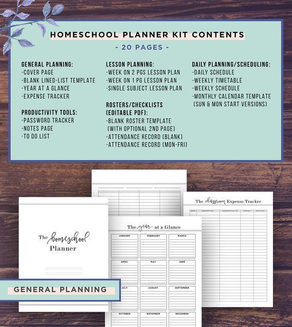 Homeschool Planner Printable, School Planner, Mom, Teacher Planner