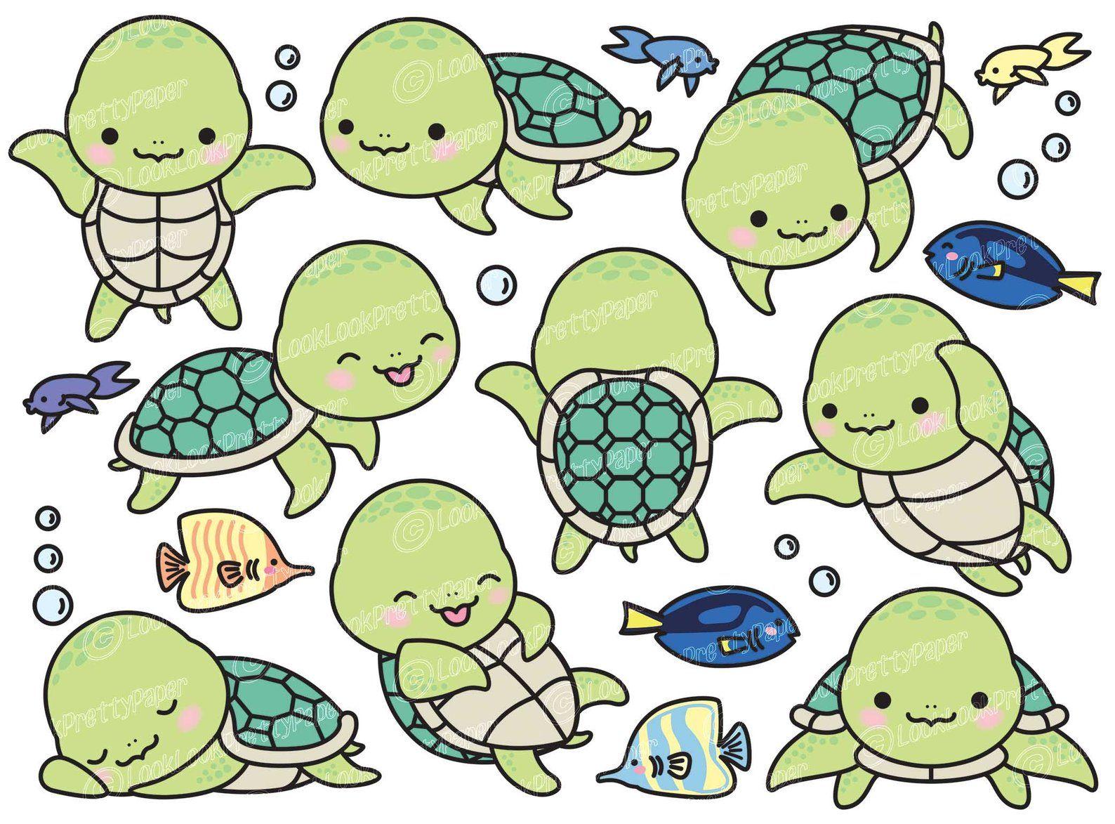 Premium Vector Clipart Kawaii Turtle Cute Turtle Clipart Set