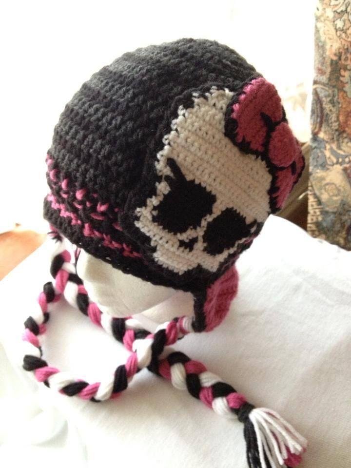 Pink Monster High Crochet hat ~ https://www.facebook.com ...