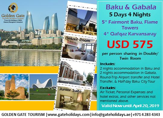 Stay And Relax At Baku Gabala 5 Days 4 Nights Baku 5 Fairmont Baku Flame Towers Gabala 4 Qafqaz Karvansaray Hotel Valid Now 20 Apr 2019 Contact