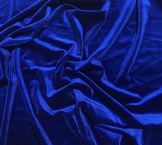 Stretch Polyester Velvet Fabric Royal Blue