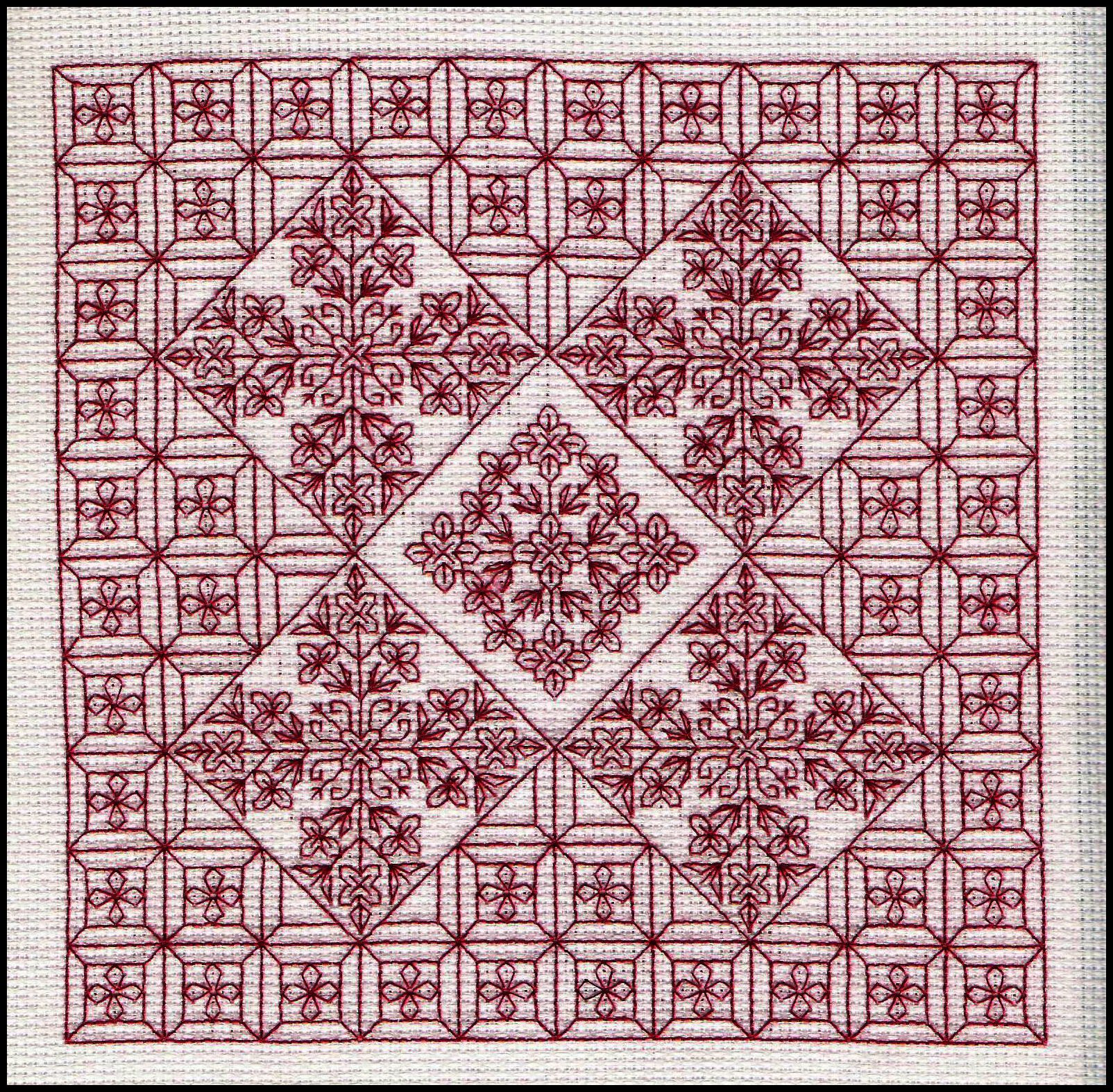 CH0029 Serene blackwork embroidery worked on 14 count Aida from ...