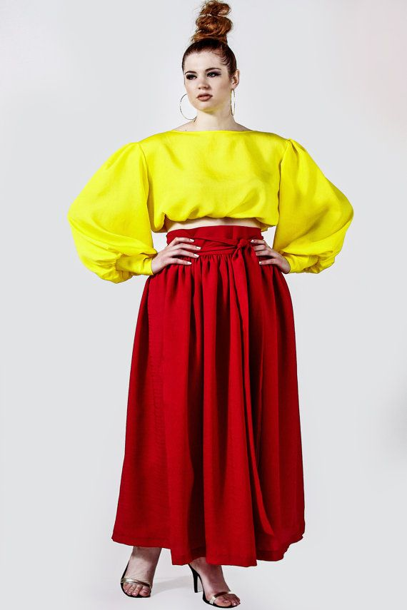 4159bc2e51883 JIBRI Plus Size High Waist Bright Berry Maxi Skirt (attached wrap belt)  Crop Blouse