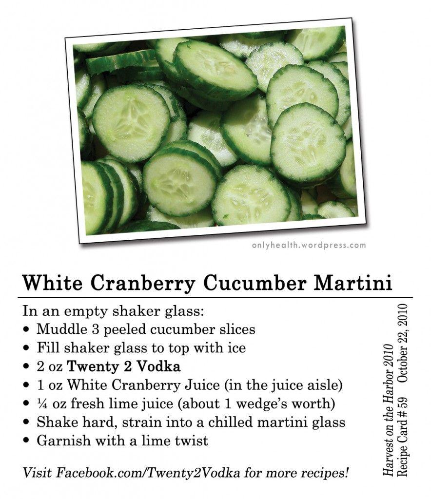 Muddled Cucumber, Vodka, White Cranberry Juice, Lime Juice