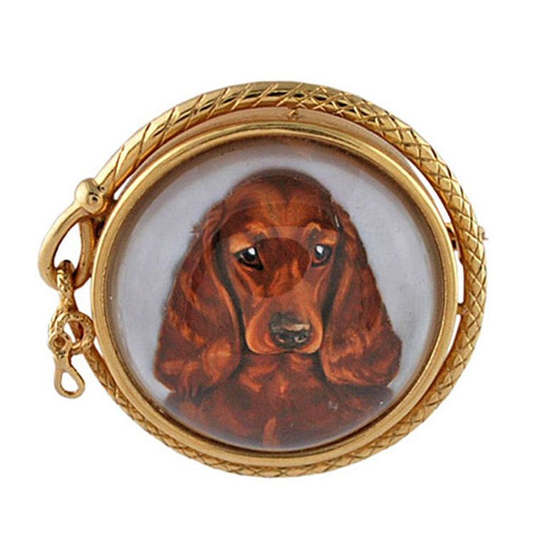 TIFFANY Fabulous Reverse Crystal Cocker Spaniel Gold Brooch | From a unique collection of vintage brooches at https://www.1stdibs.com/jewelry/brooches/brooches/