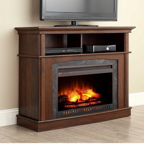 Media Electric Fireplace Tv Stand Brown