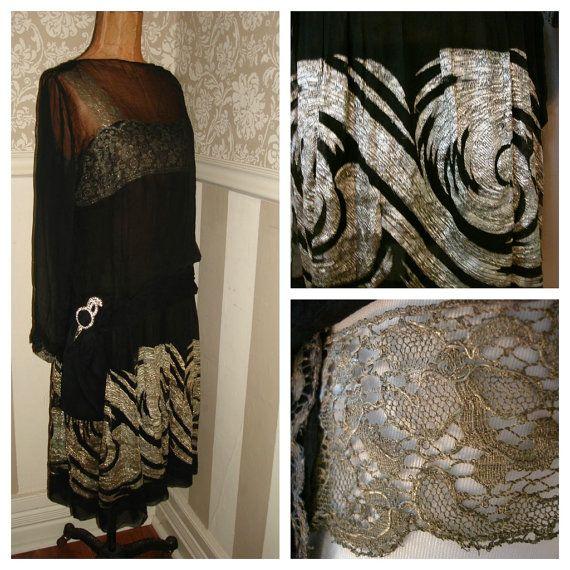 1920s chiffon silk dress