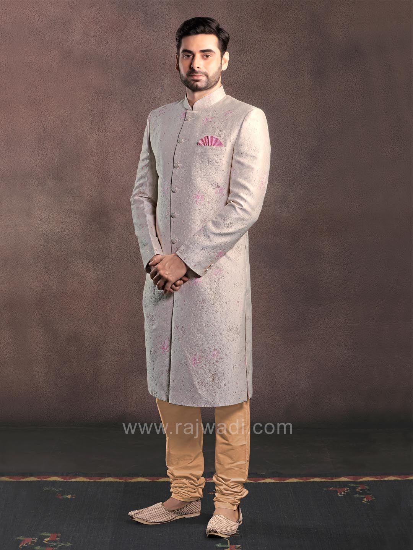 Emboss fabric cream color sherwani rajwadi designer exclusive