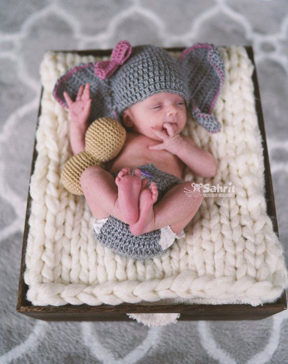 c18e50b33 Instant Download English PATTERN Newborn Elephant Outfit & Peanut Crochet  Photo Prop