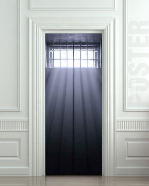 Wall Door Sticker Window Prison Jail Cell Light Mural Decole Film Self Adhesive Poster 30x79 77x200cm Door Stickers Jail Cell Interior Columns