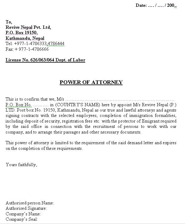 power of attorney letter format printable sample power of attorney letter form real 24033