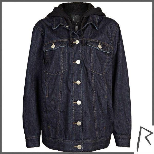 River Island Dark wash Rihanna oversized denim jacket ($43) ❤ liked on Polyvore featuring outerwear, jackets, coats & jackets, river island, tops, sale, denim jacket, jersey jacket, oversized hooded jacket and river island jacket