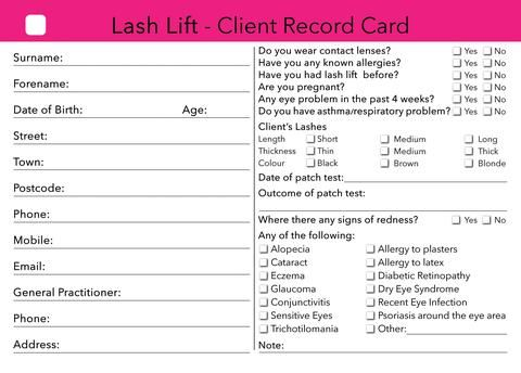 Waxing Client Card Treatment Consultation Card In 2019 Nails
