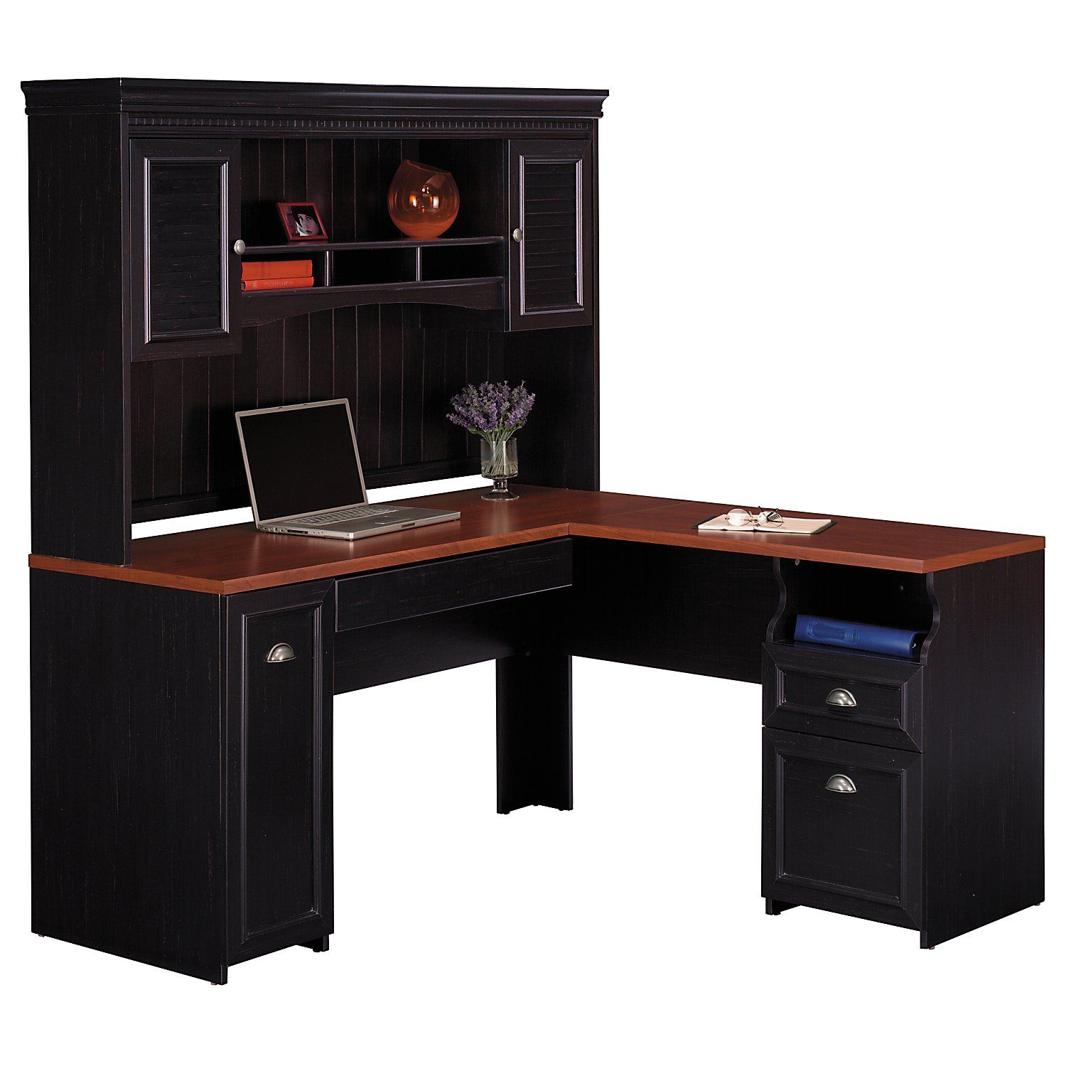 Desk Home Office Furniture Small Black With Red Oak Glossy L Shaped Computer