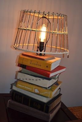 Book lamp brown paper packages books pinterest book lamp a few weeks ago we made this book lamp hgtv did a little tutorial on it here stacked books table lamp video i loved it aloadofball Image collections