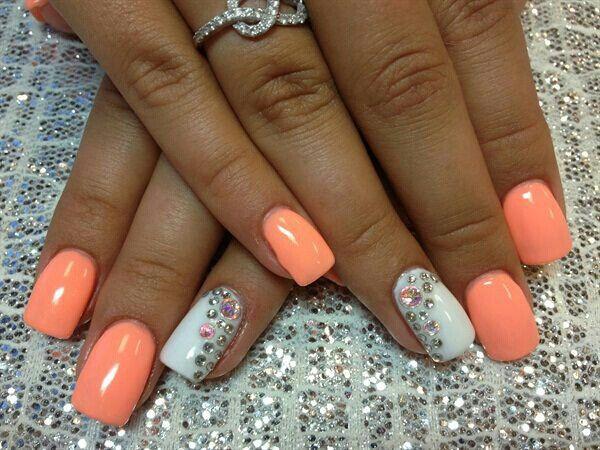 Great Peach Color Simple Nails Nail Art Designs Simple Nail