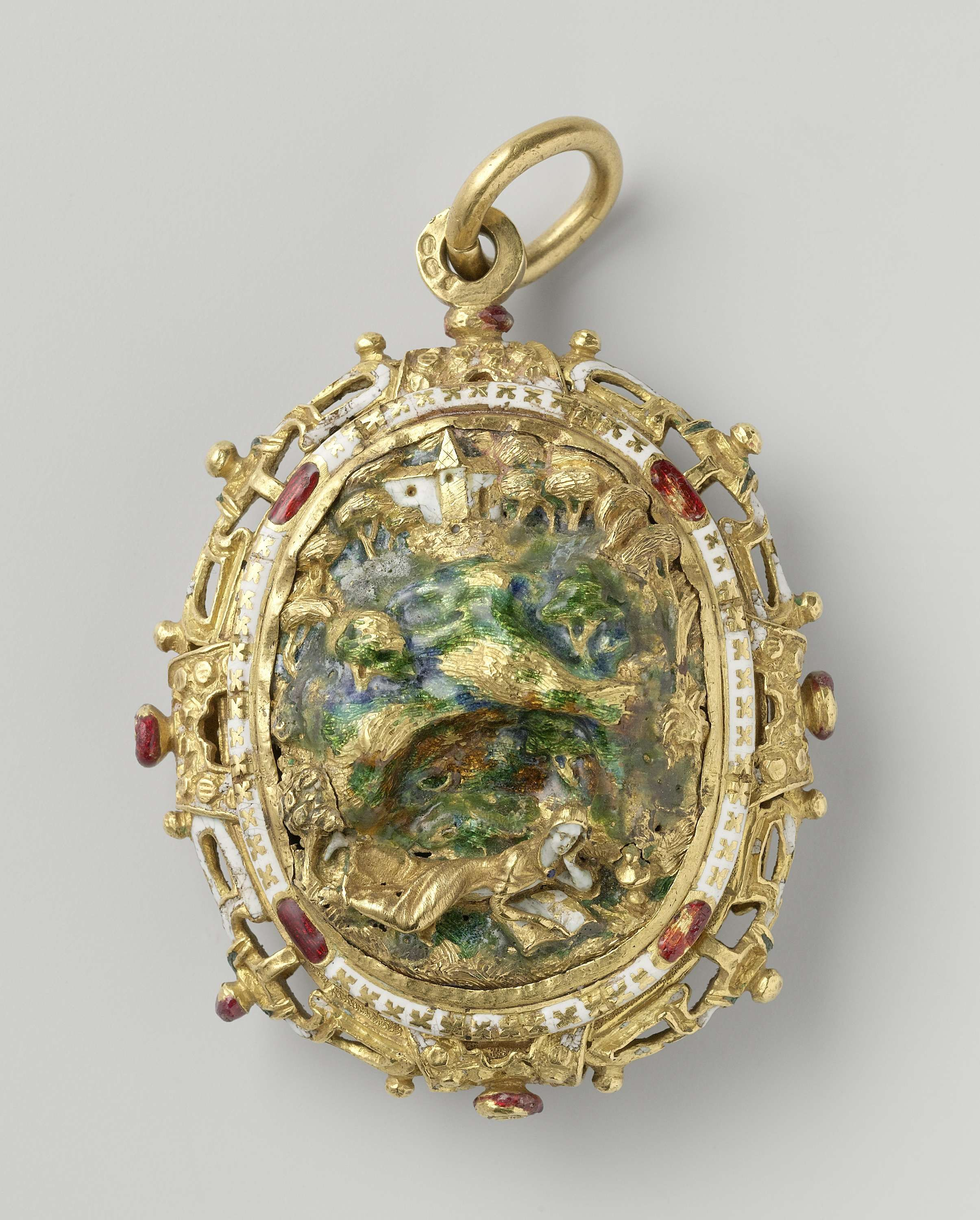 Pendant of gold and enamel with the lost income mary magdalene in pendant of gold and enamel with the lost income mary magdalene in the grotto mozeypictures Gallery