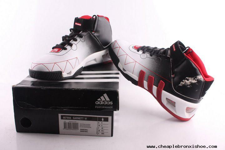 pretty nice f37a2 92e7d Adidas shoes Kevin Garnett VI Basketball shoes Black White Red Authentic