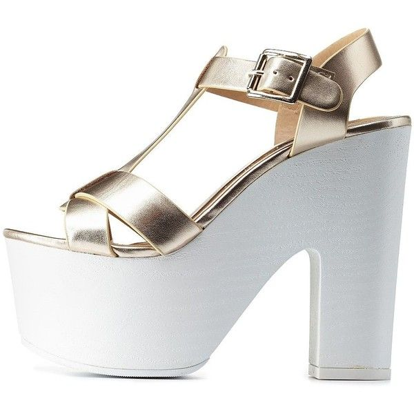 Charlotte Russe Gold Metallic T-Strap Chunky Platform Heels by ...