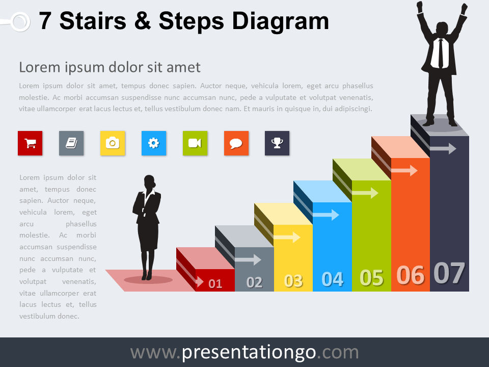 7 Stairs And Steps Diagram For Powerpoint And Google Slides