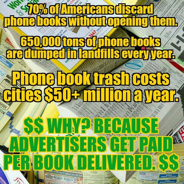 In the battle of greed vs the environment, greed wins The phone - phone book example