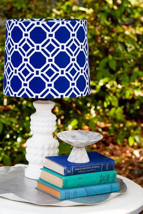 Custom Cobalt Blue and White Honeycomb Shade #home #decor www.loveitsomuch.com