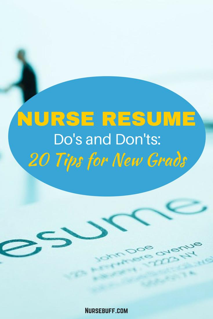 Nurse Resume Do\'s and Don\'ts: 20 Tips for New Grads | La enfermera ...