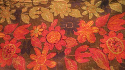 Double Panel 50's 60's Bark Cloth VTG Fabric Drape Curtain FLOWER POWER