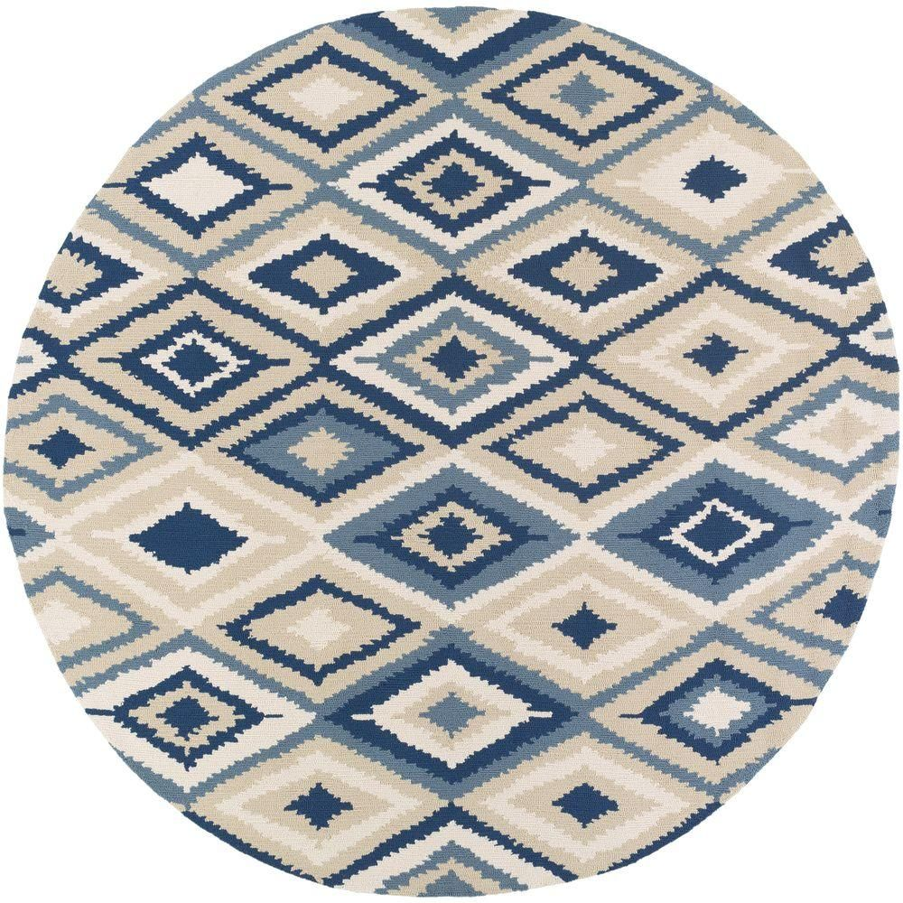 Artistic Weavers Pilatus Navy Blue 8 Ft X 8 Ft Round Indoor